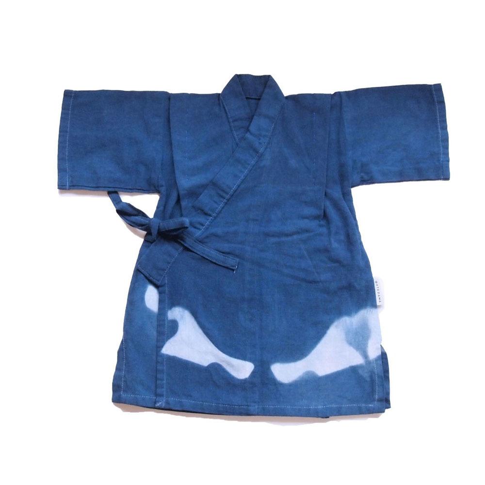 甚平(藍染 鳥波)Sサイズ(送料無料)