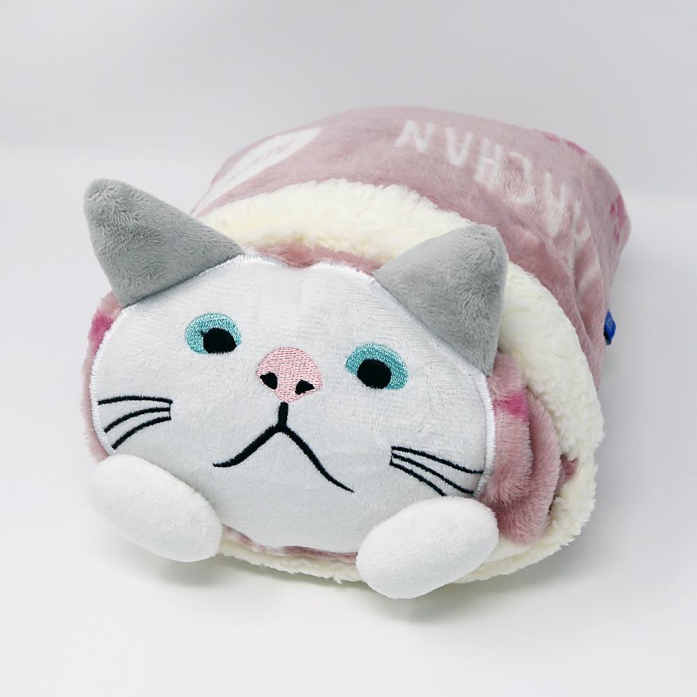 猫ぬいぐるみブランケット(くるまるターチャンひざ掛け)