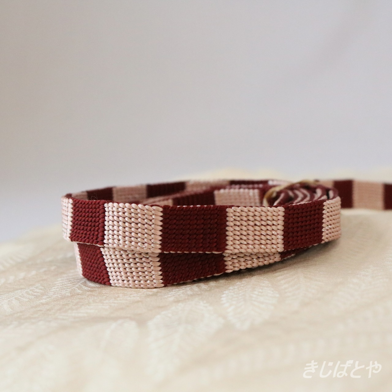 正絹 石畳の帯締め ベリーアイス