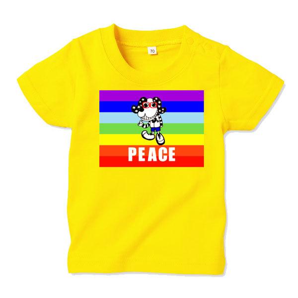 ◆キッズTシャツ 70.80.90サイズ対応◆ PEACE イエロー