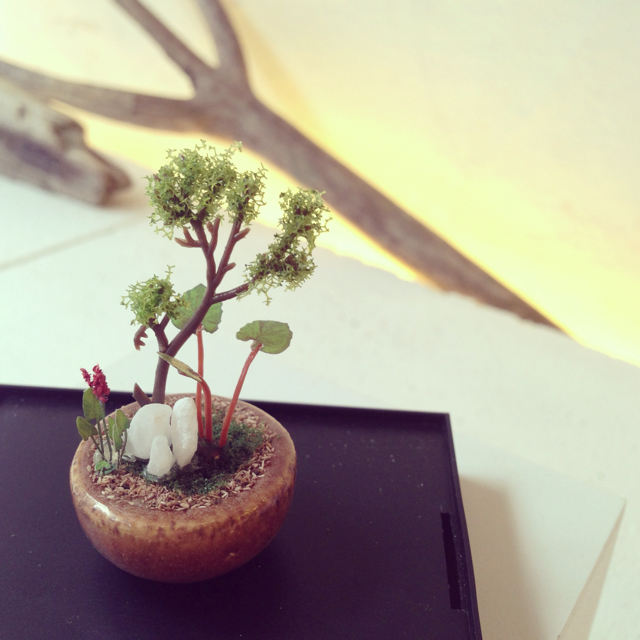 【THE BONSAI】丸鉢寄せ植え(茶)