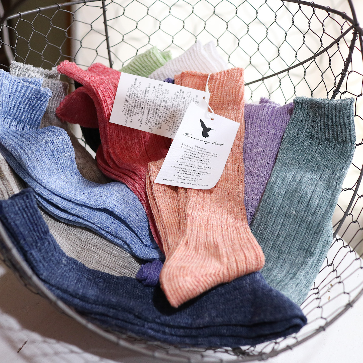 Hummingbird 日本製靴下 リネンゆるハイソックス Mサイズ レディース 22〜24cm