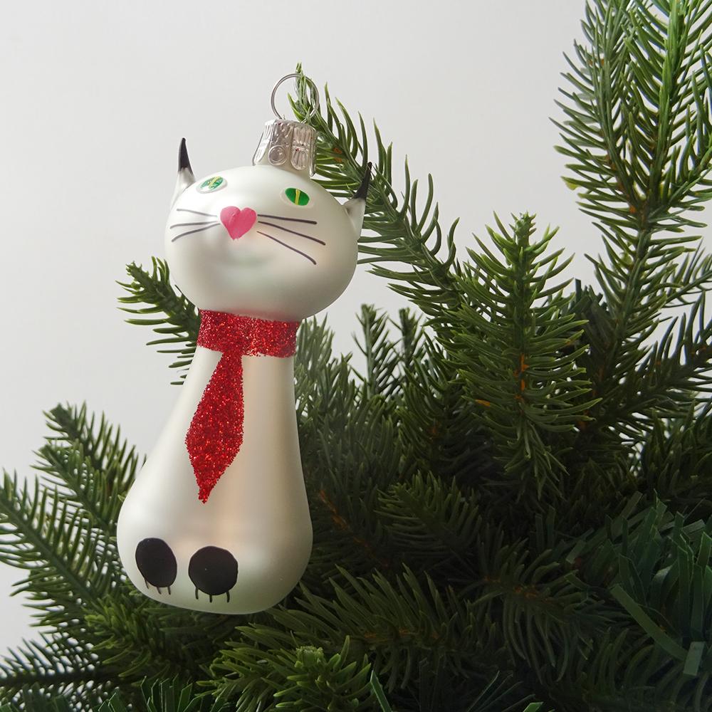 チェコ ガラスのクリスマスオーナメント 猫 / ホワイト