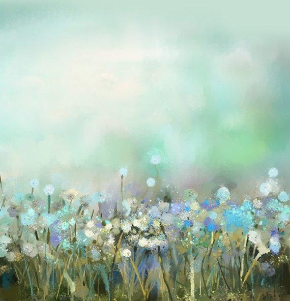 ニューボーン水色のお花畑背景布120cmX120cm