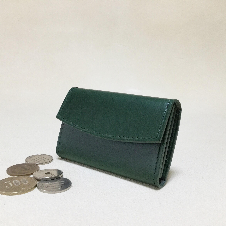 シンプルな革のコインケース#グリーン