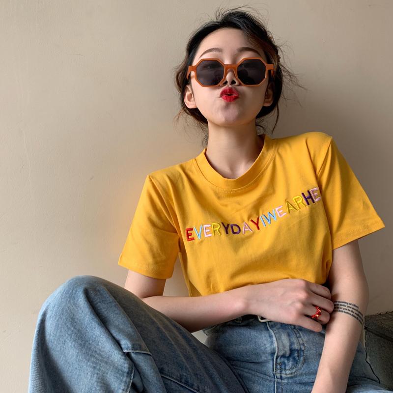 【tops】スウィートアルファベット配色Tシャツ19318447