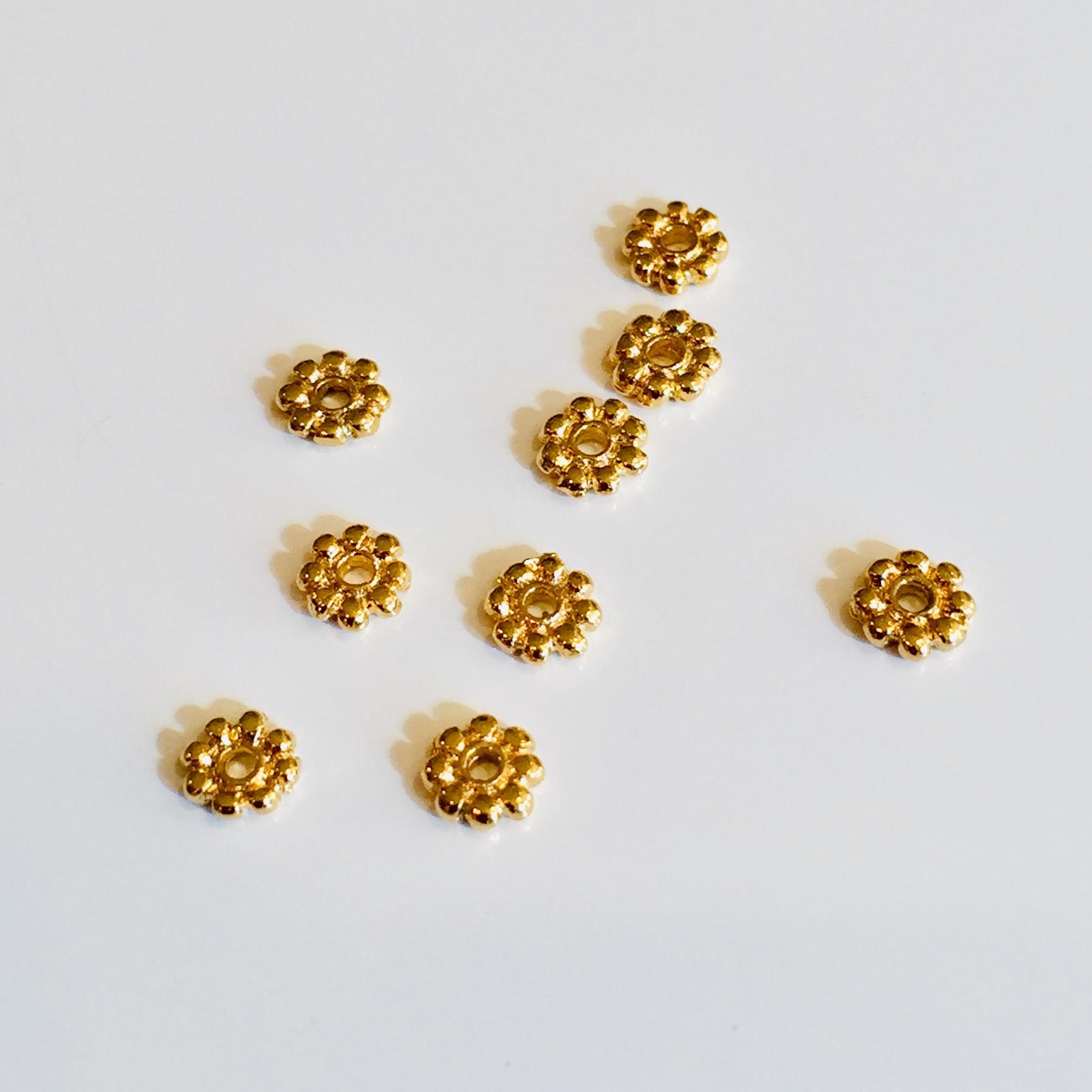花型ビーズ ゴールド 約3mm 9個セット
