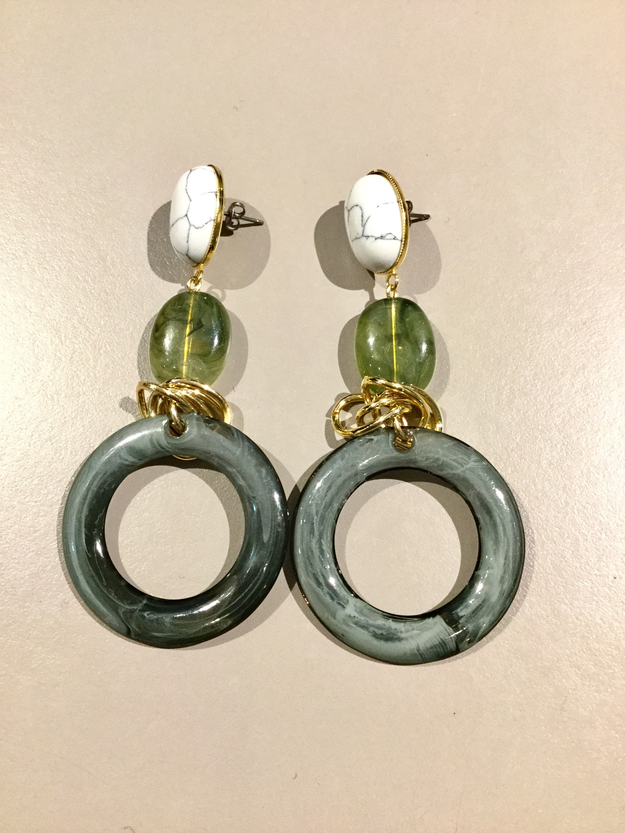 meow   marble ring pierce  (green)
