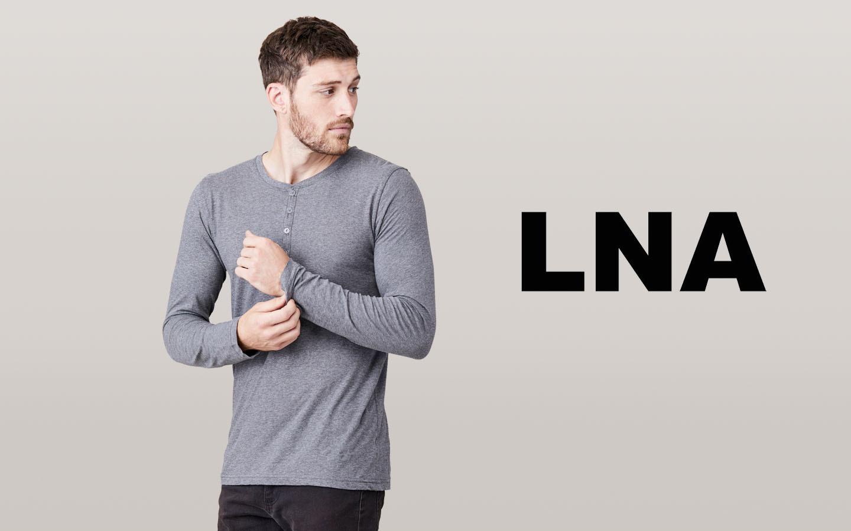 LNA/エルエヌエー ロングスリーブボタンヘンリーシャツ/グレー