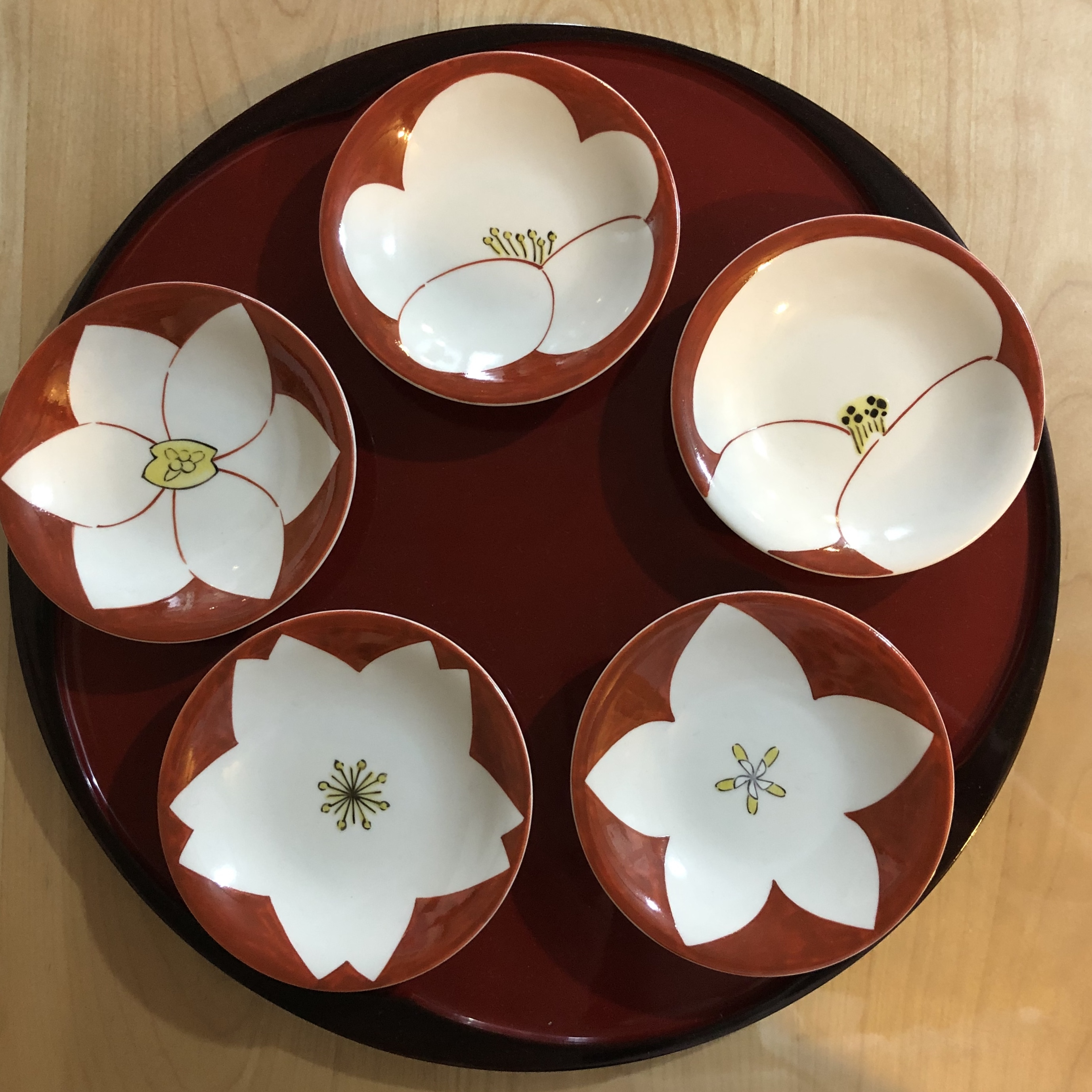 花 赤小皿5個セット