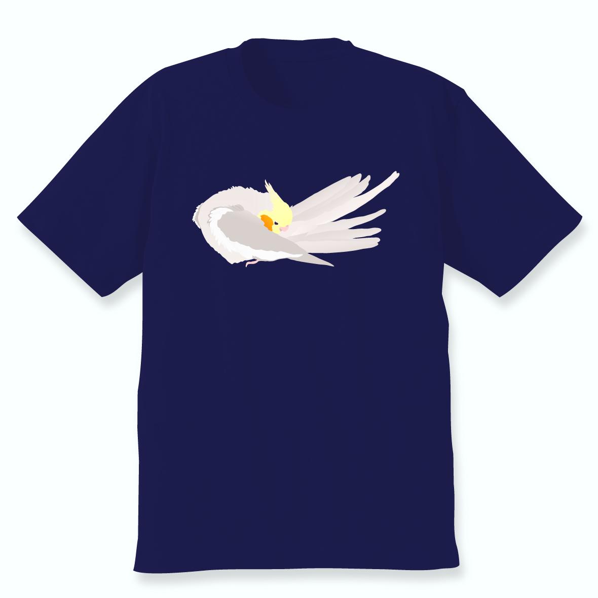 羽づくろうオカメインコTシャツ(シナモン)ネイビー