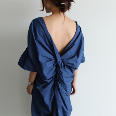 【ワンピース】ファッションギャザー飾り無地レトロ23873998