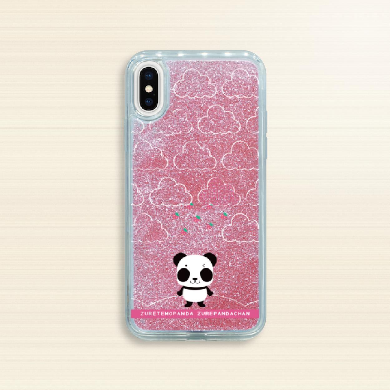 iPhone X/XS/6/6s/7/8*19-01BGRo*ズレぱんだちゃんBグリッターケース*ローズピンク