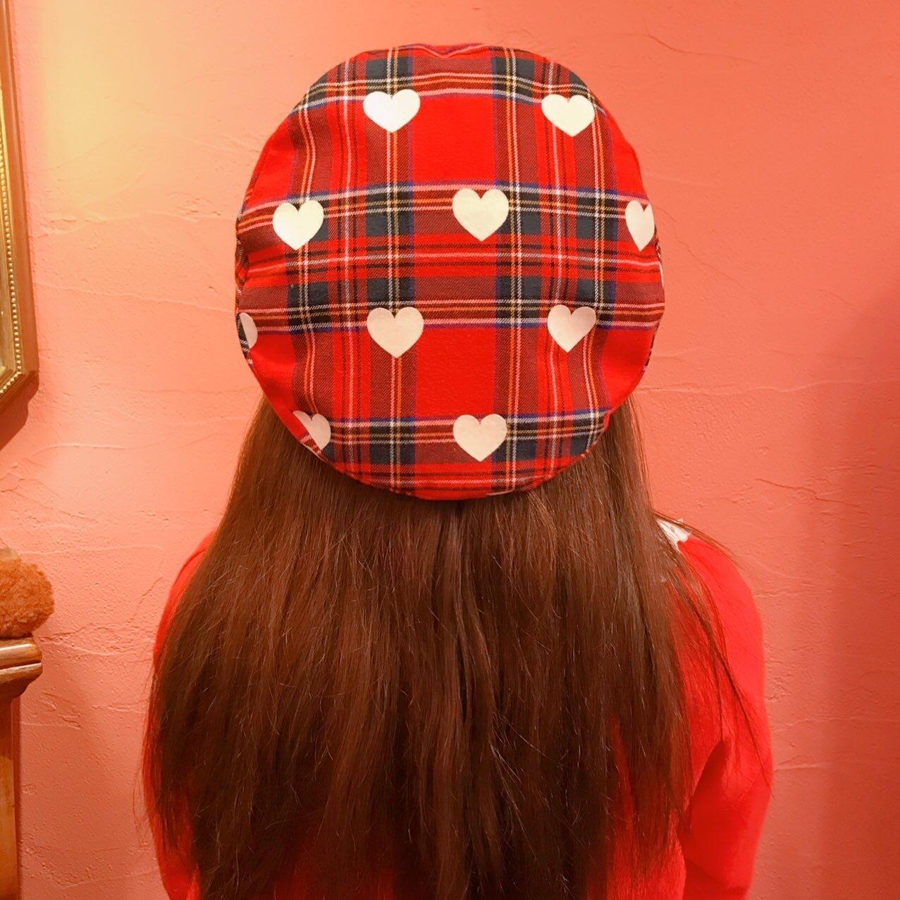ハートチェックベレー帽 RED