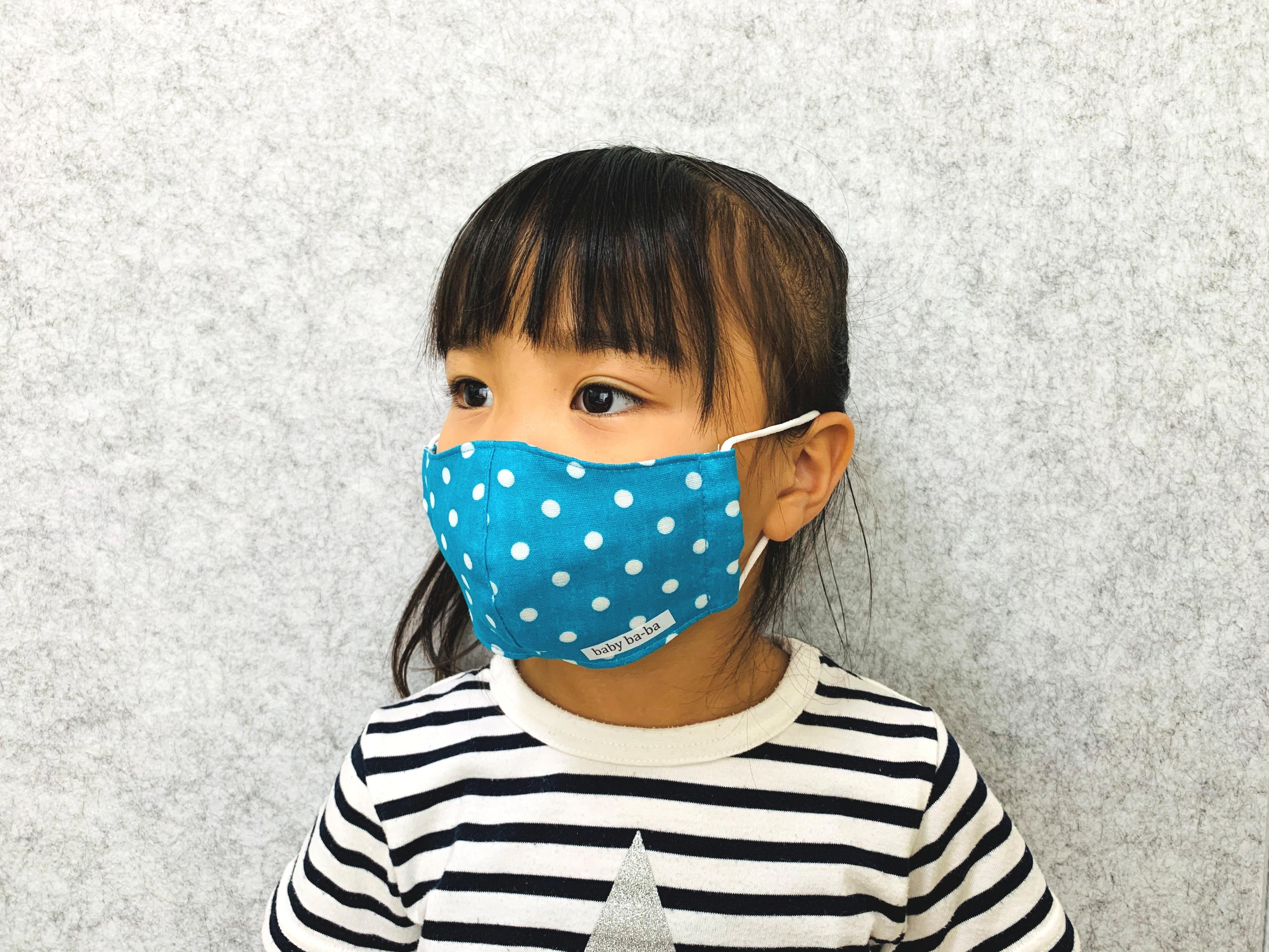 熱がこもりにくい春夏用 立体マスク 幼児サイズ(3歳~6歳)・トルコブルードット