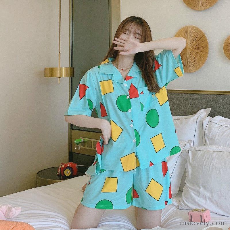 【パジャマ】キュートプリント配色折り襟半袖上下セット29642638