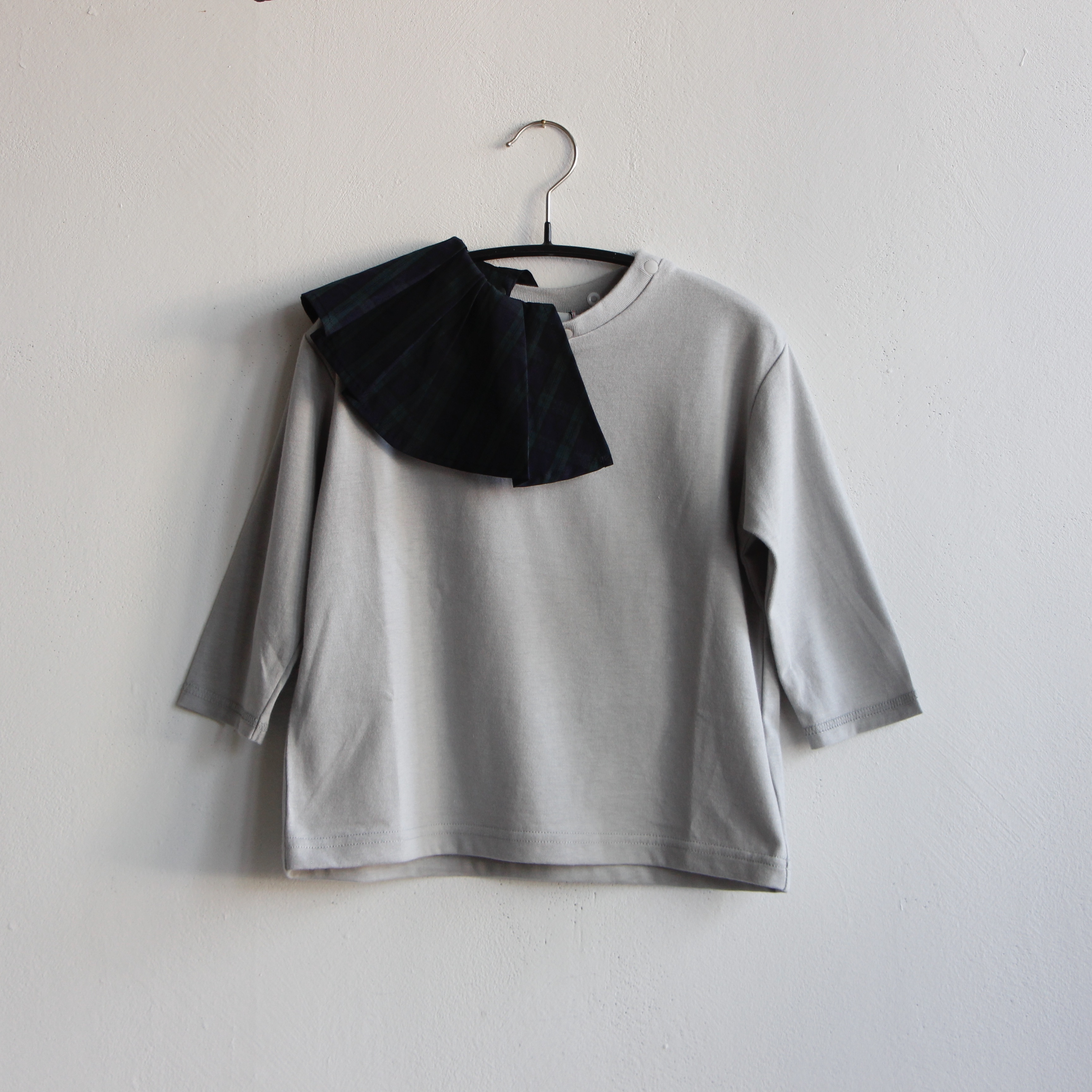 《frankygrow 2020AW》REMOBABLE PLEATS COLLAR LS TEE / green check × gray / S・M・L