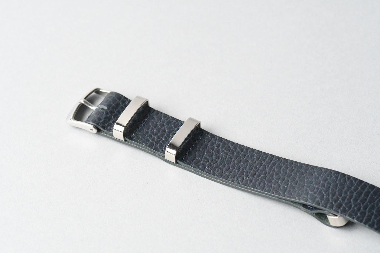 TIMEX腕時計 男女兼用・革のナトータイプベルト ■ネイビー■ _イタリアンレザー「ドラーロ」ナトータイプ腕時計付替えベルト_ - 画像2