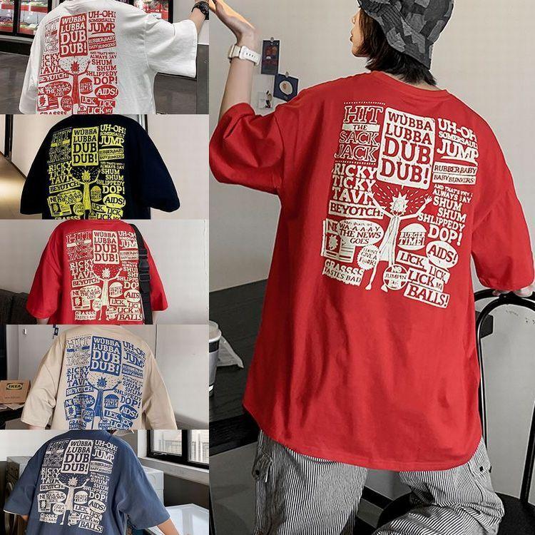 ユニセックス 半袖 Tシャツ メンズ レディース 顔 英字 バックプリント オーバーサイズ 大きいサイズ ルーズ ストリート
