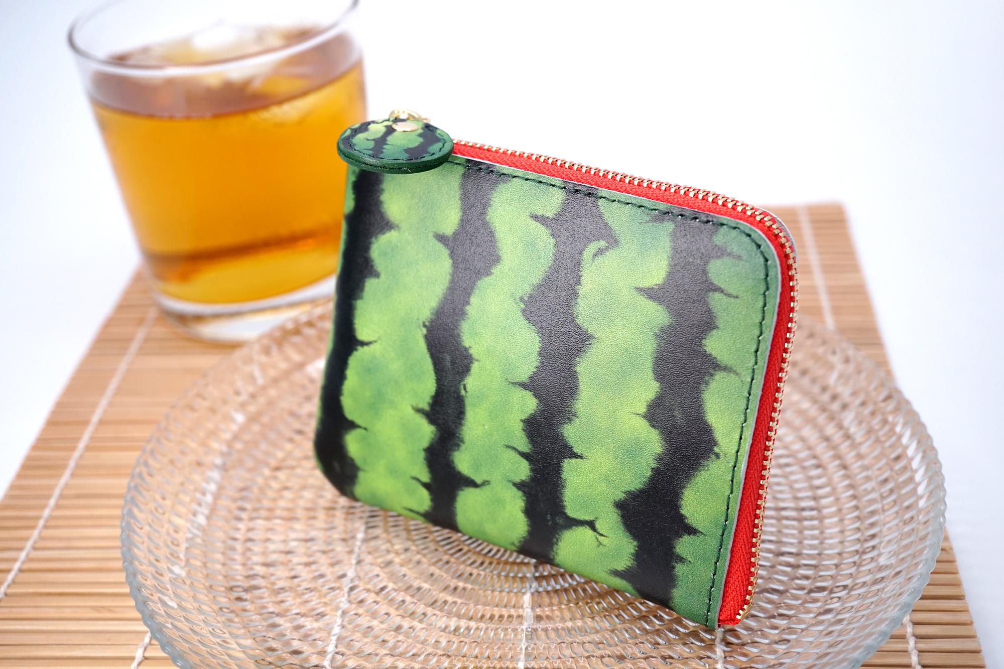 薄型!スイカなL字ファスナーミニ財布(牛革製)
