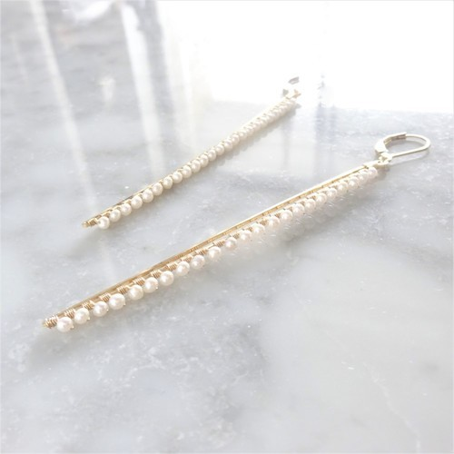 14kgf*Freshwater pearl BAR pierced earring / earring  パール