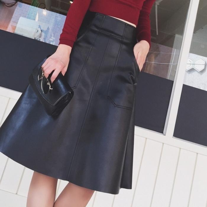 フェイクレザー Aライン スカート