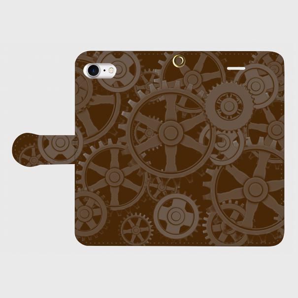 歯車スチームパンク(黒茶)/iPhoneスマホケース(手帳型ケース)