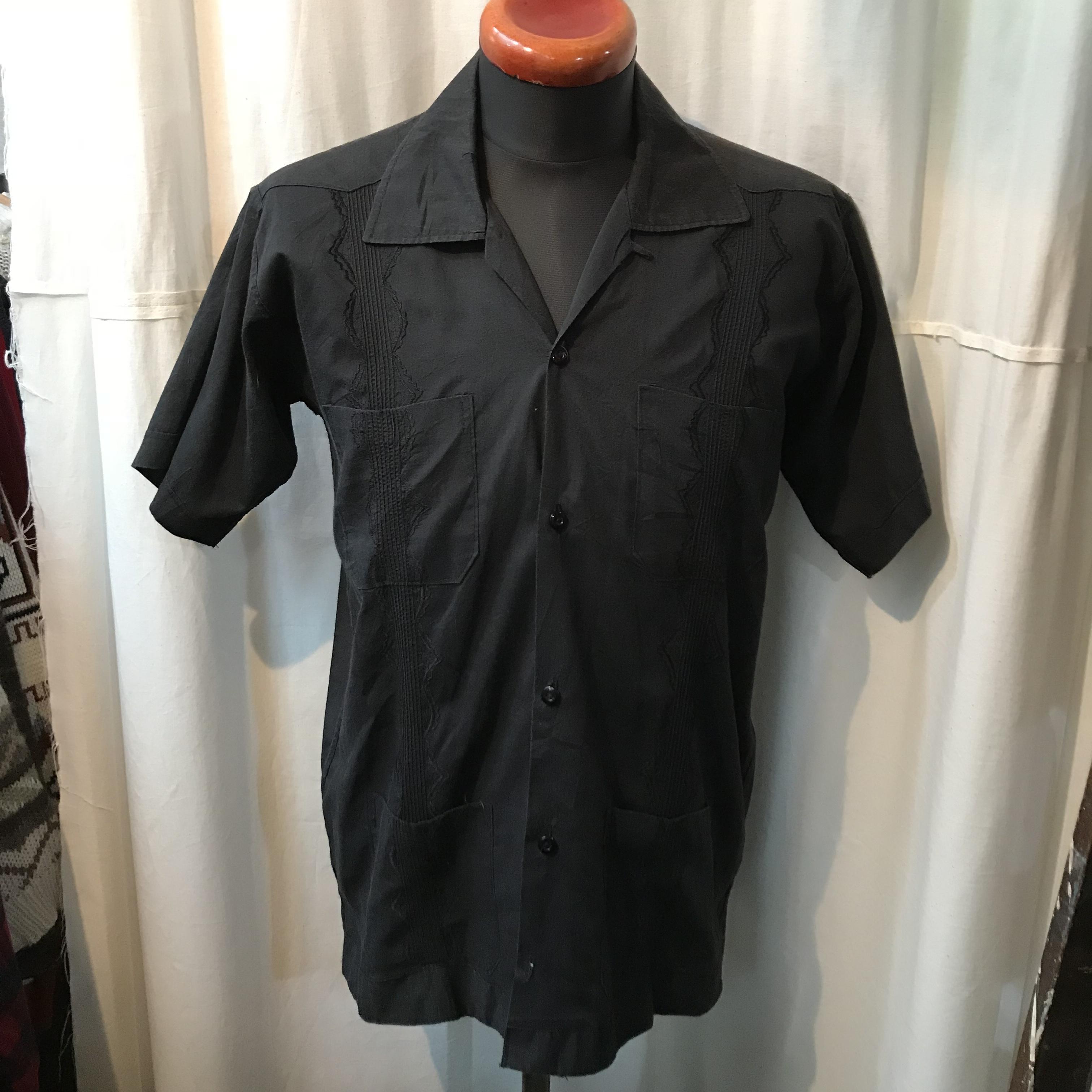 キューバシャツ ブラック 刺繍 メンズM