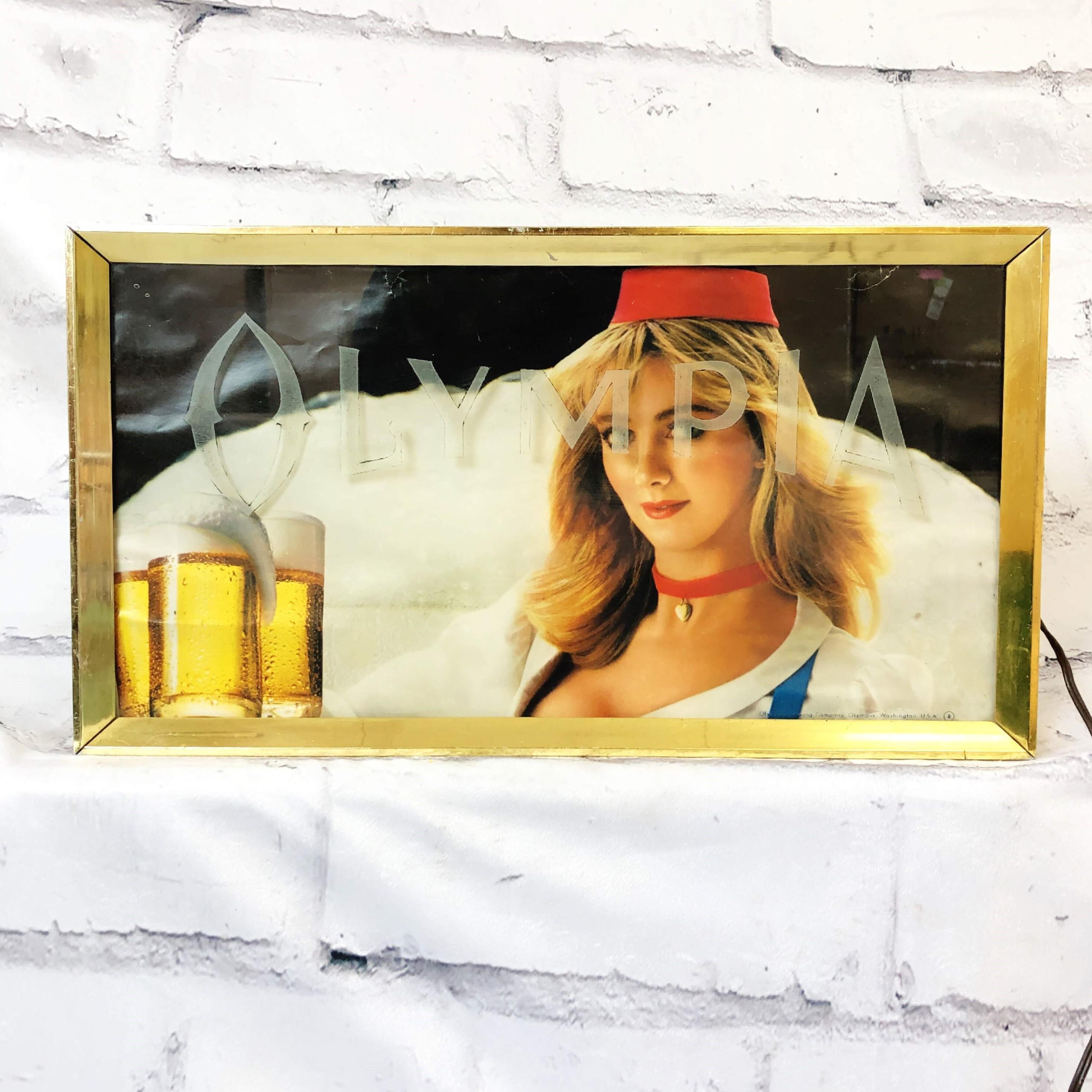 品番2079 OLYMPIA ネオンライト オリンピア ビール 女性 看板 サイン