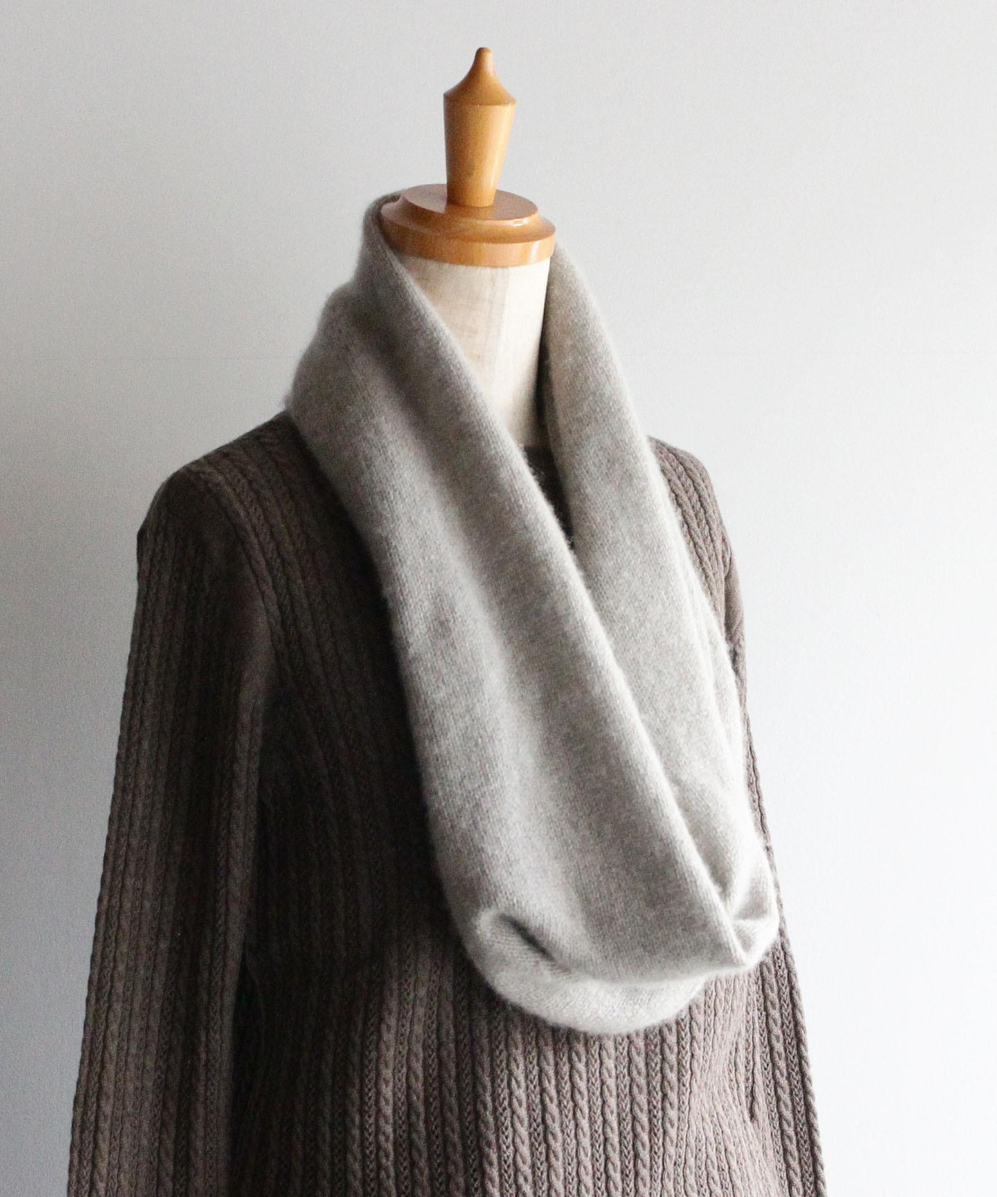 手編み機で編んだカシミヤセーブル【スヌード】モカベージュ