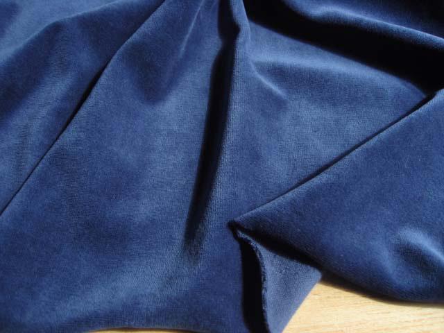 綿混ニット・ベルベット ブルー NTM-2162