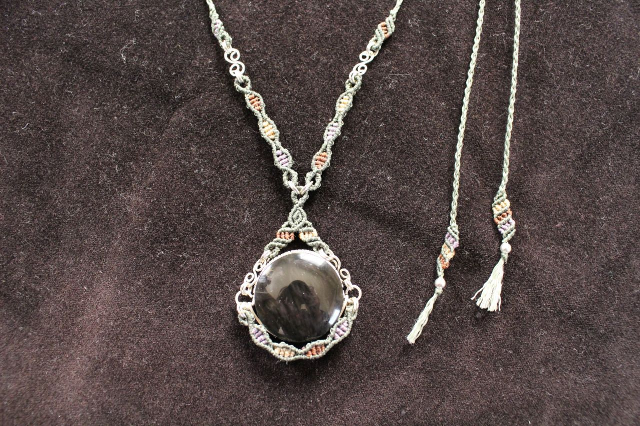 Huichol obsidian silverwire micromacrame necklace