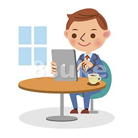 イラスト素材:喫茶店でタブレット端末を使う若いビジネスマン(ベクター・JPG)
