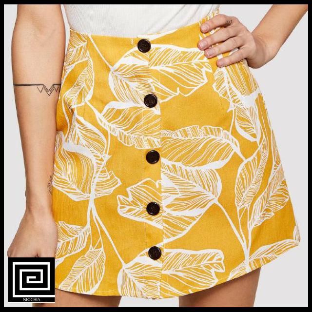 ジャングルリーフプリントボタンアップスカート