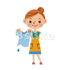 イラスト素材:洗濯をするエプロン姿の主婦(ベクター・JPG)