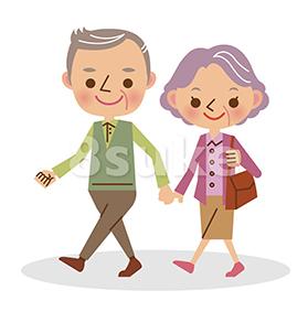 イラスト素材:手をつないで歩く老夫婦(ベクター・JPG)