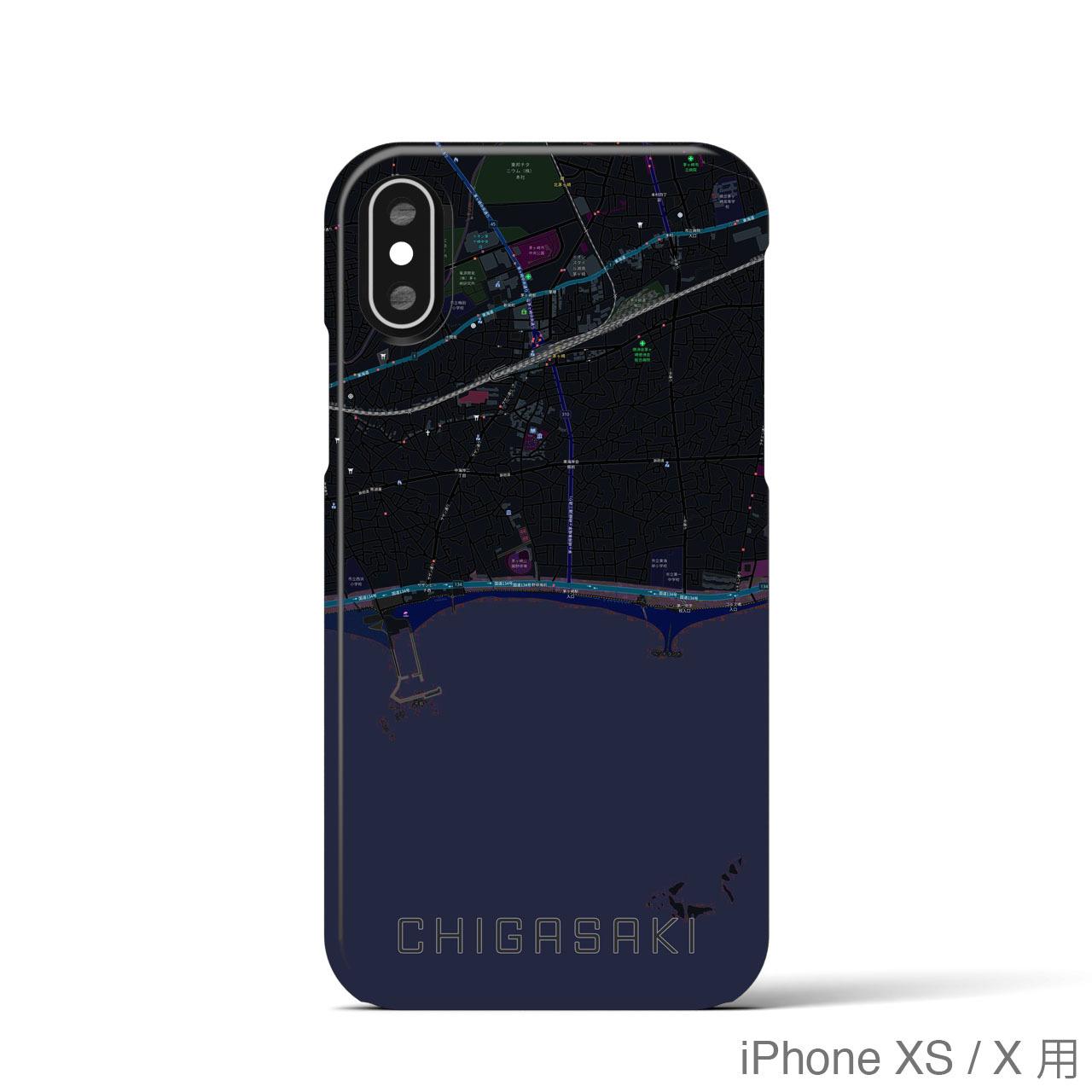 【茅ヶ崎】地図柄iPhoneケース(バックカバータイプ・ブラック)