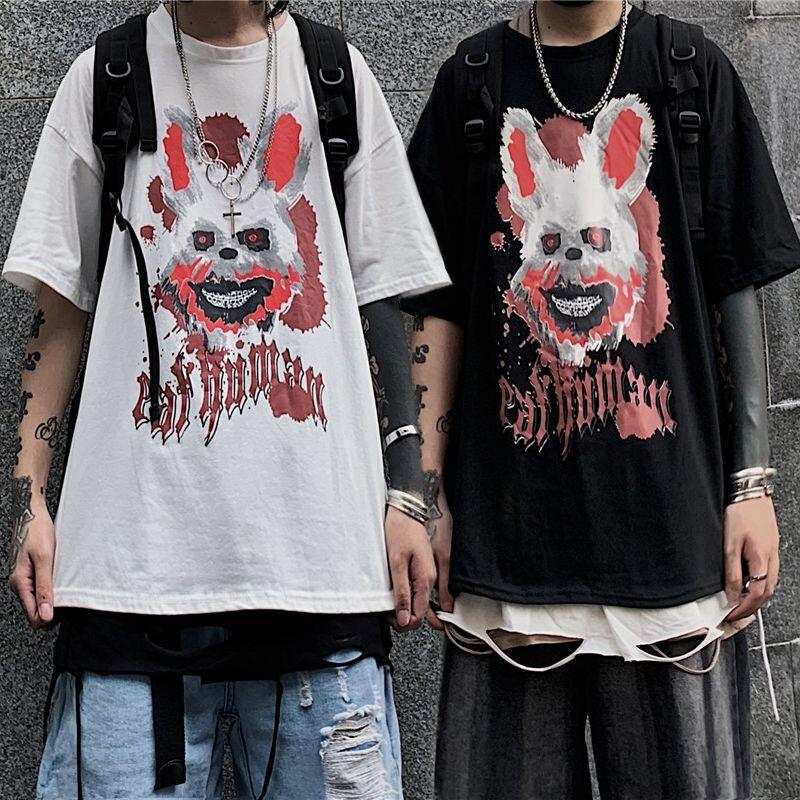 ユニセックス Tシャツ 半袖 メンズ レディース ラウンドネック ダーク系 血まみれウサギ プリント オーバーサイズ 大きいサイズ ルーズ ストリート