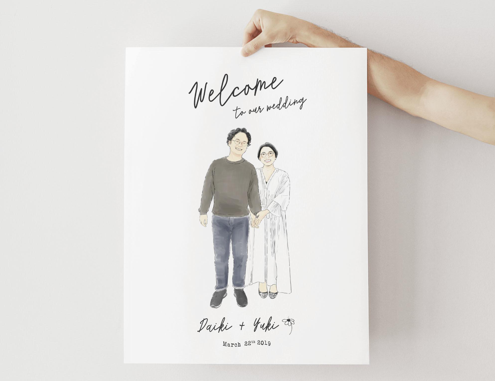 NY在住イラストレーターが描くウェルカムボード【カリグラフィー】