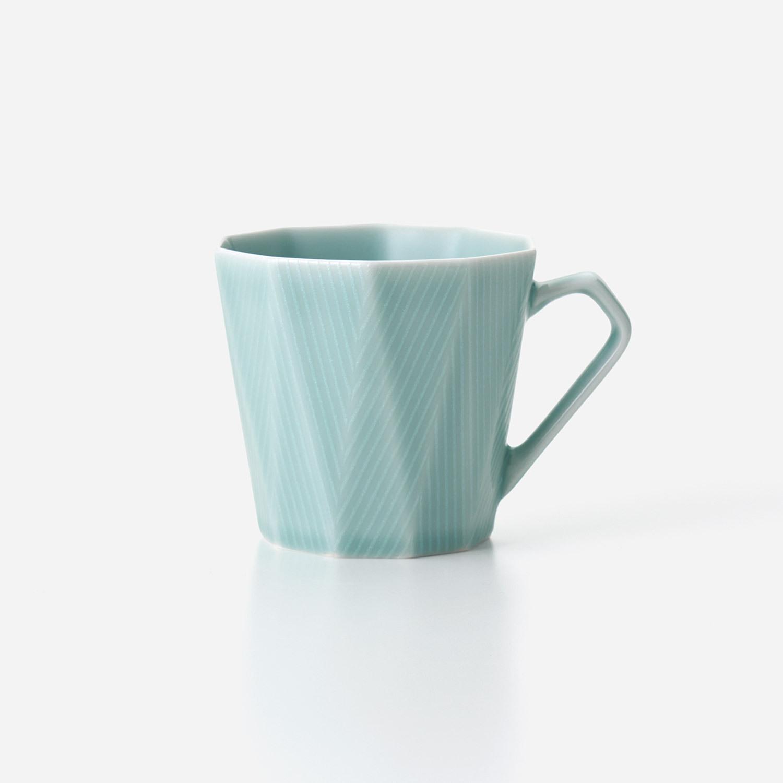 青磁光彩 十角マグカップ