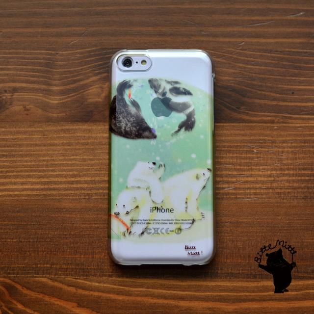 【限定色】iphone5c ハードケース クリア スマホケース iphone5c クリアケース iphone5c クリア ケース キラキラ かわいい しろくま シロクマ 白くま 北のアクアリウム/Bitte Mitte!