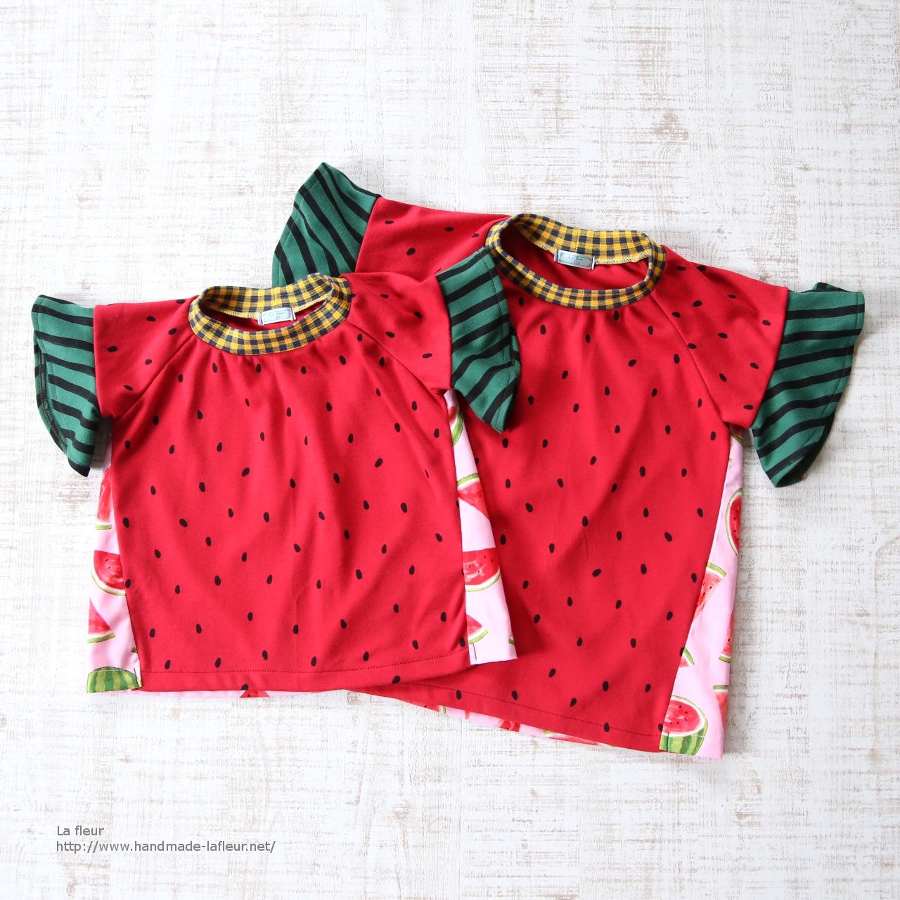 【90】スイカTシャツ女の子用*ロンリーTシャツ 袖フリル カットソー/Lafleur