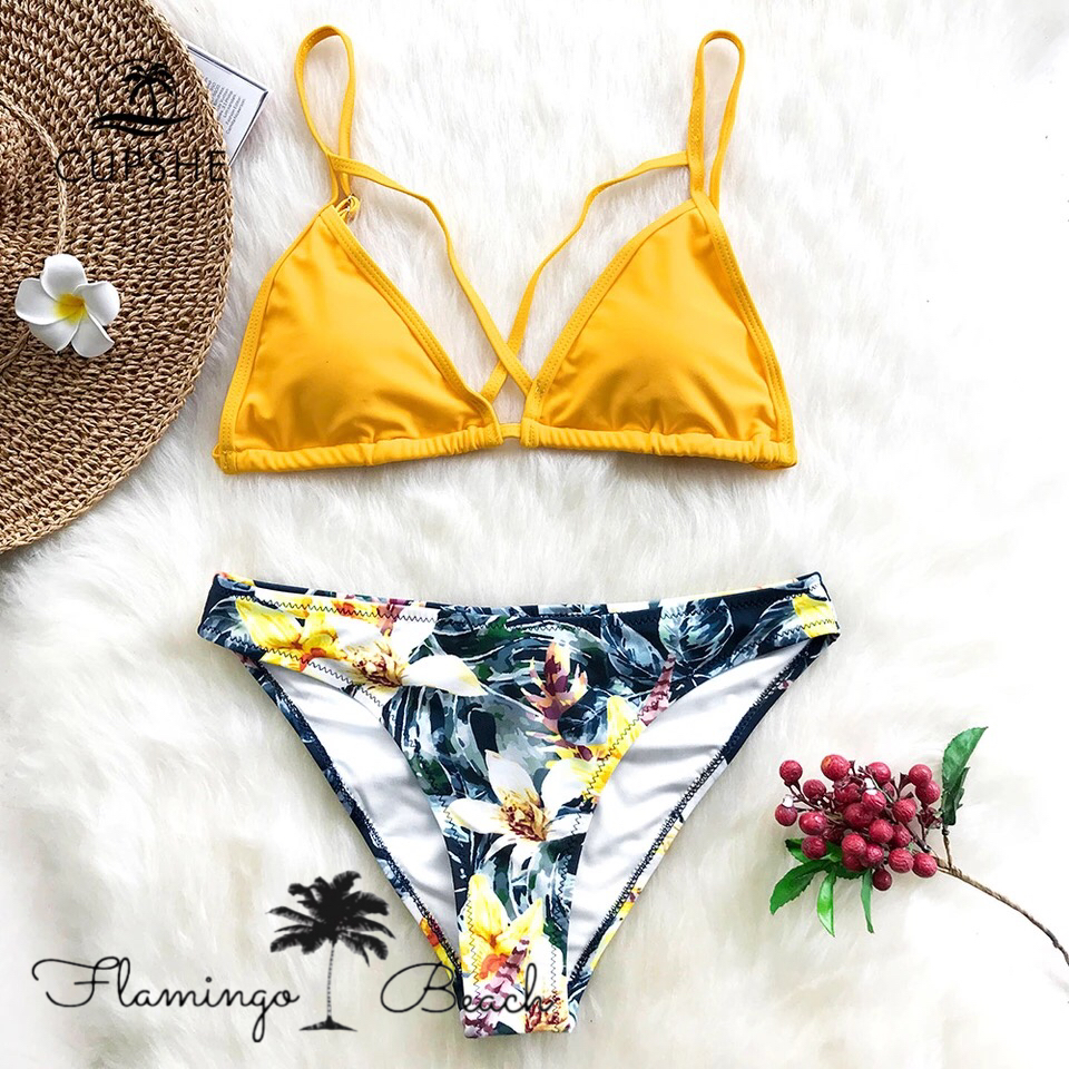 【FlamingoBeach】yellow flower bikini