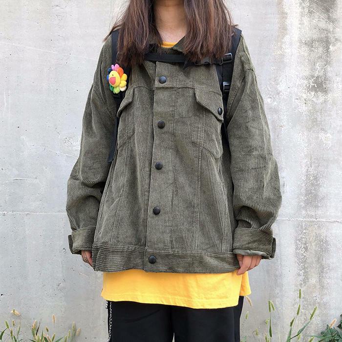 【送料無料】 秋冬トレンド♡ ゆるカジ コーデュロイ シャツ ジャケット ビッグシルエット カジュアル メンズライク
