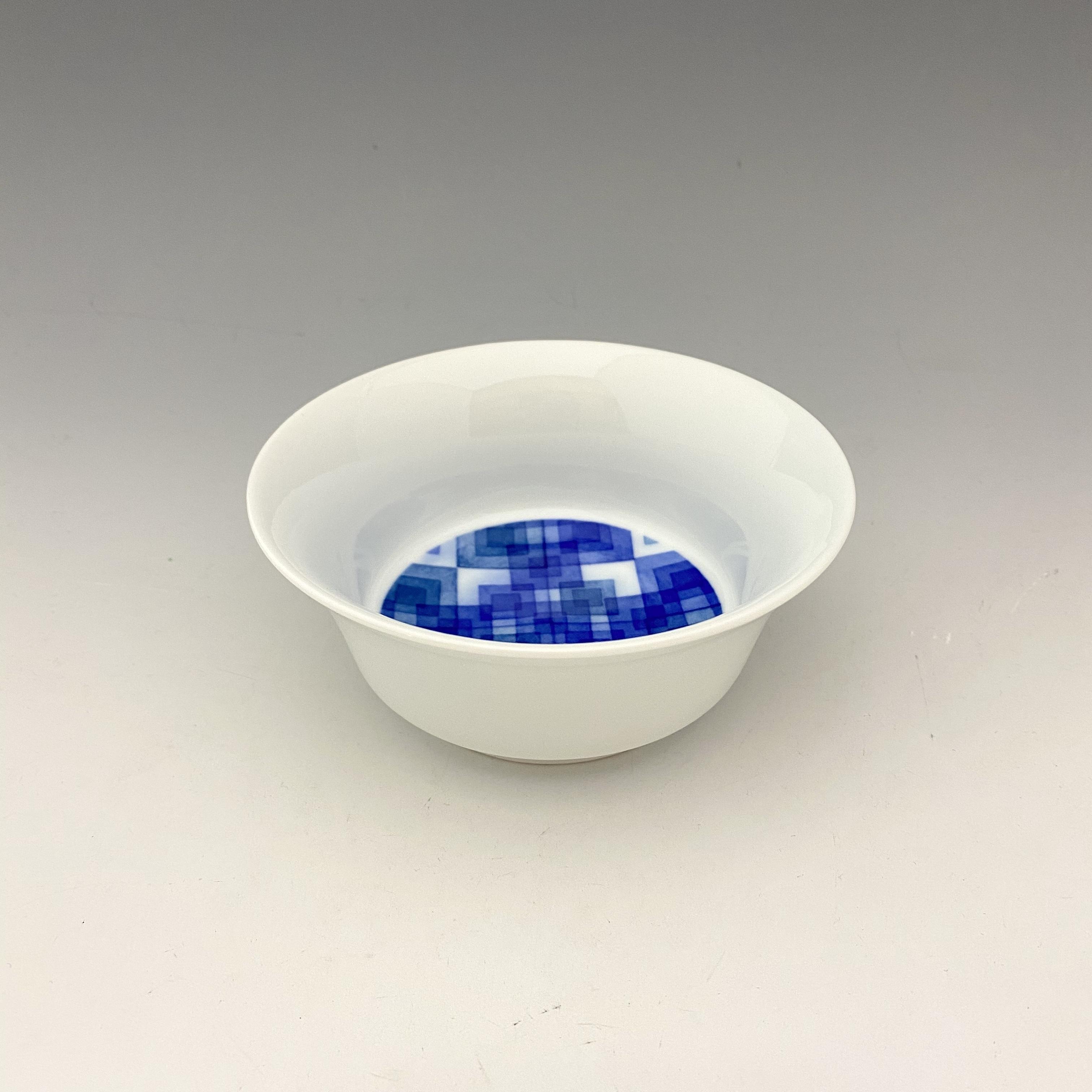 【中尾英純】和紙染格子文小鉢