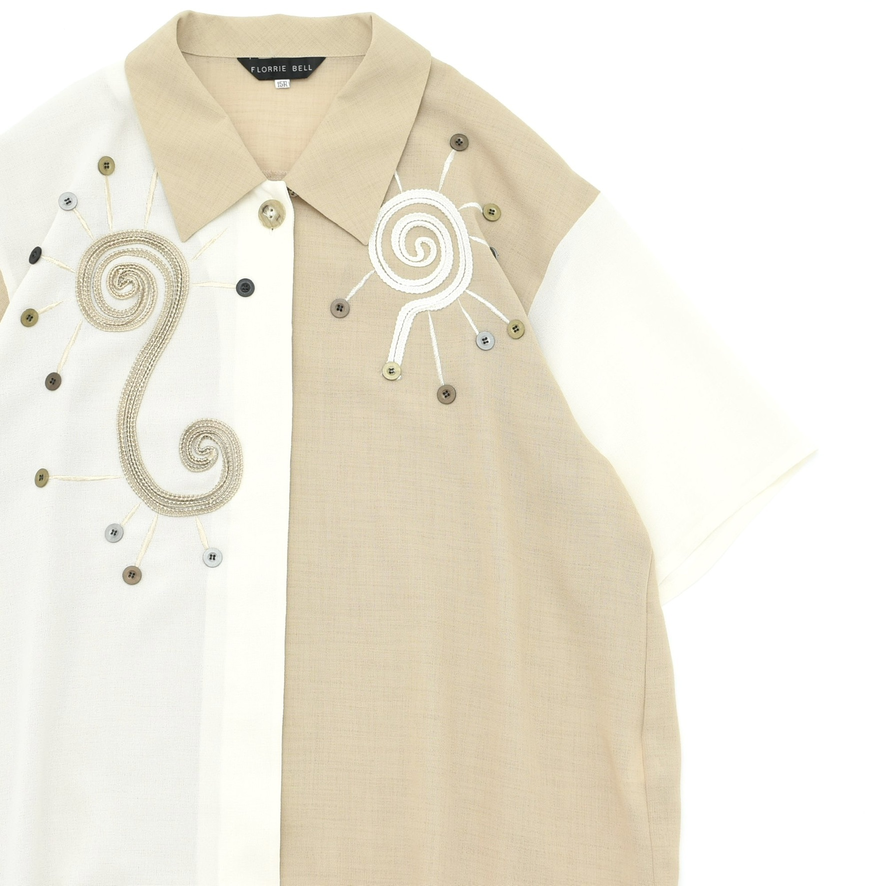 Japan vtg bicolor cord design big size shirt Made in JAPAN