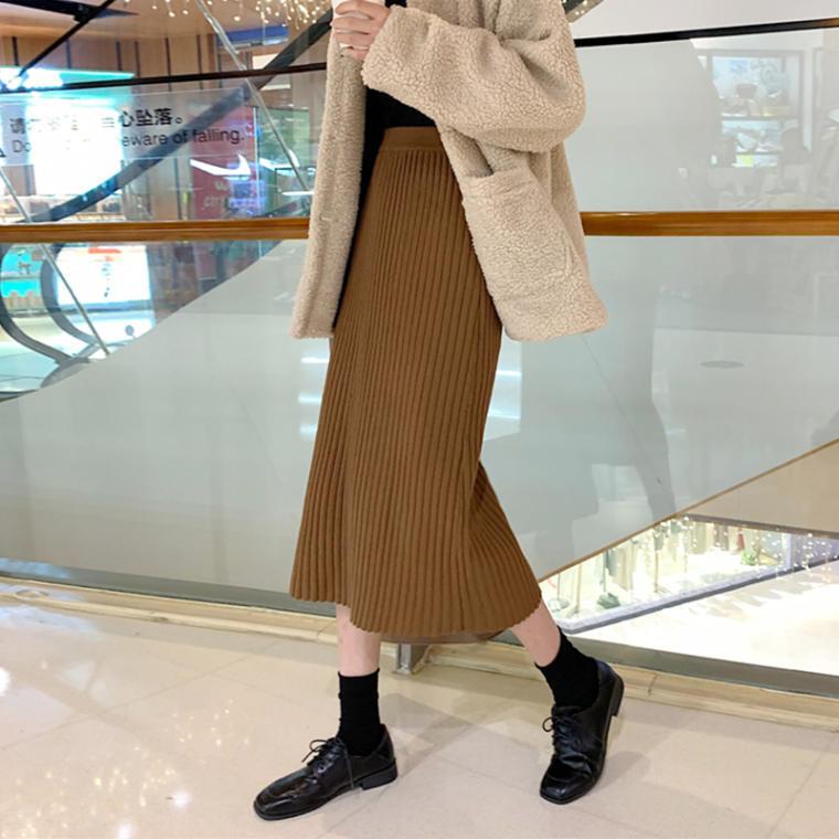 【送料無料】 秋冬スカート♡ 大人可愛い リブ ニット フィット ミモレ丈 スカート 6color