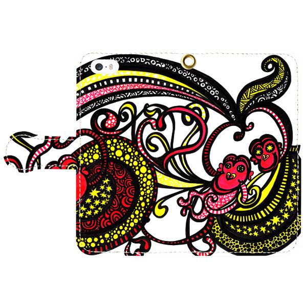 ◆手帳型スマホケース◆ 【happy monkey ハッピーモンキー】 iPhone5/5s 6/6s Android S/Mサイズ対応
