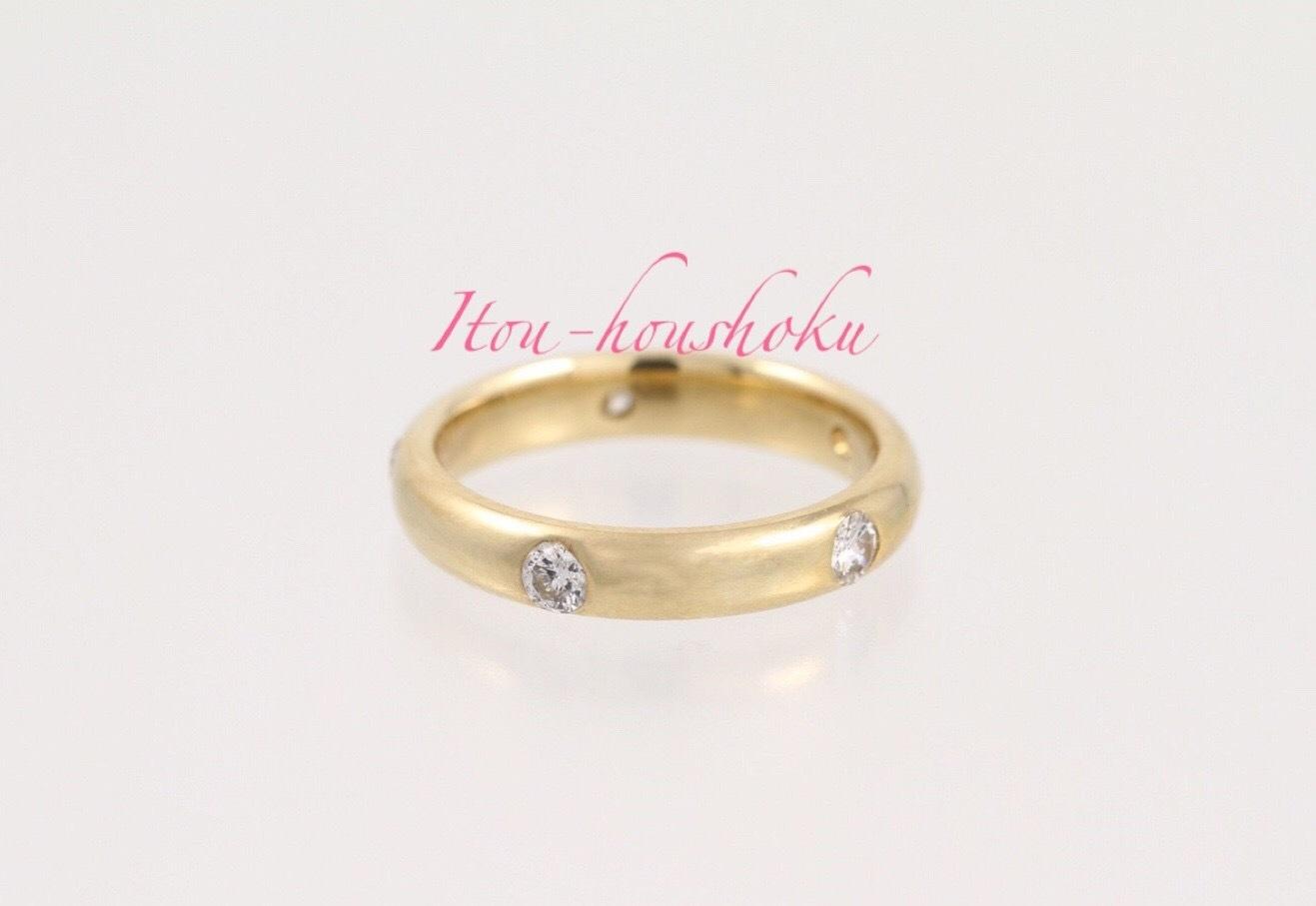 【値下!】指輪が回転してもダイヤ!K18ダイヤ5pc