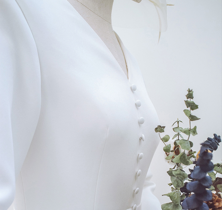 【DearWhite】ウェディングドレス Aライン プリンセス エンパイア デコルテ 結婚式 披露宴 二次会 パーティーウェディングドレス_サイズオーダー格安オーダーメイド DW00012